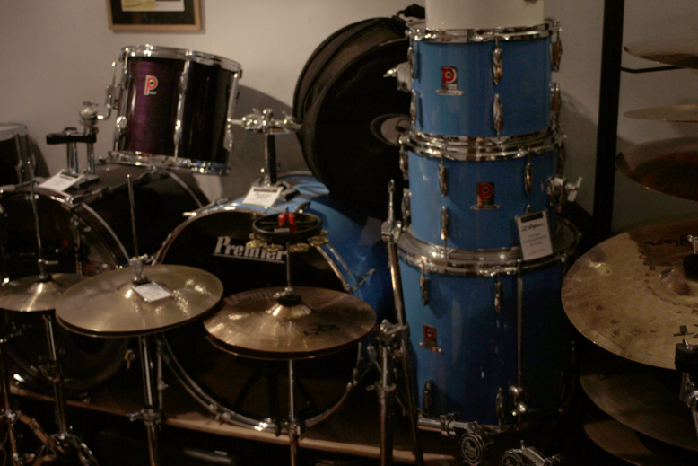 This sky blue Premier kit came to the Drum Vault with a leg smashed into the kick drum before it was fully restored.