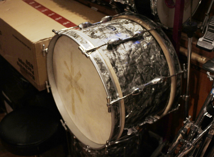 An awesome black oyster pearl John Grey Autocrat kick drum with its original heads