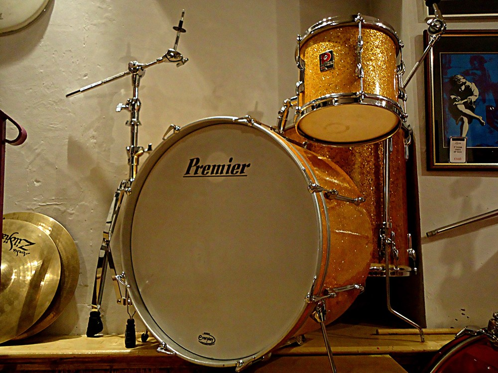 My favorite kit at the Drum Vault; a gold sparkle three piece jazz kit.