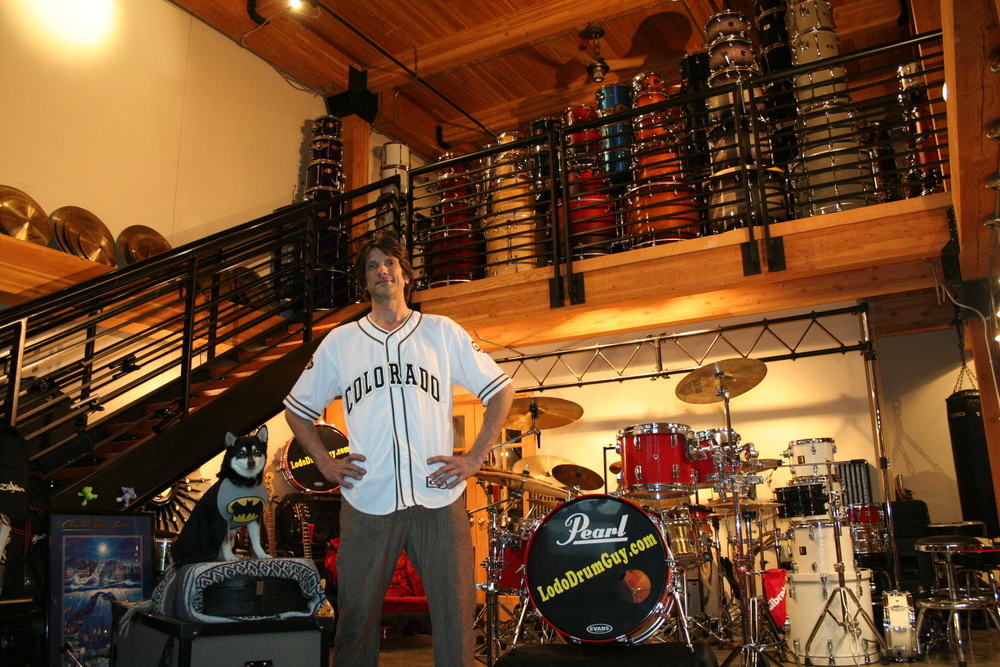 Me in Denver's coolest used drum, cymbal and music shop.