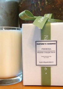 White Collection A collection of exotic scents combine in pure untinted soy wax at home in any decor. Comes in attractive gift box.