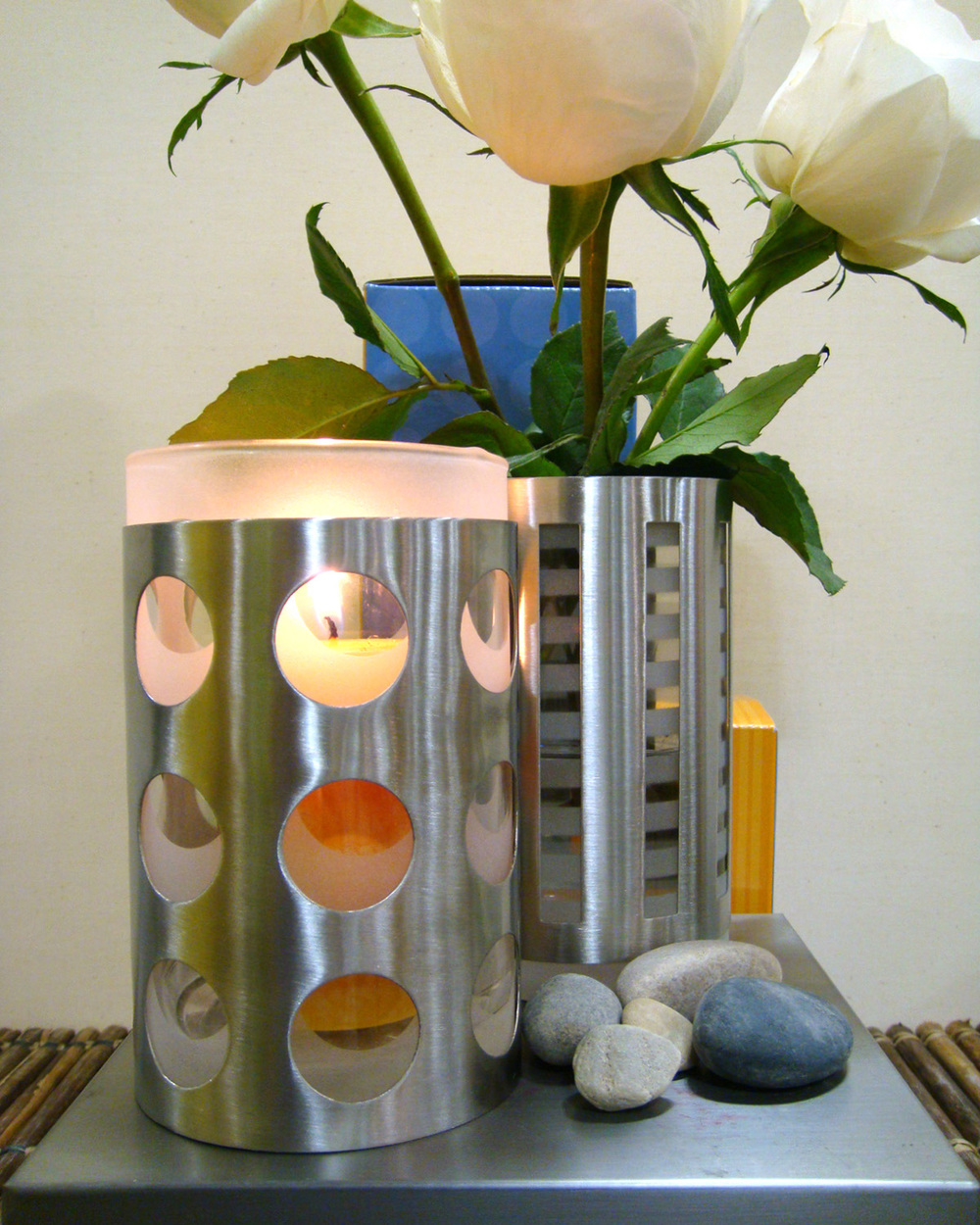 Candle Holder Collection    Beautiful, contemporary stainless steel and glass candle holders.