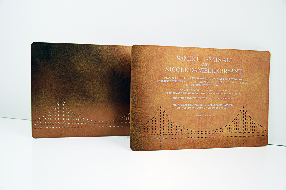 Custom perforated copper wedding invitation for a couple marrying in San Francisco.