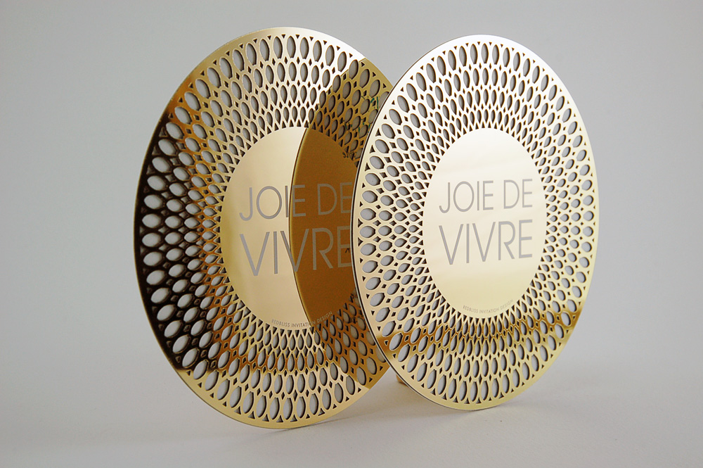 Inspirational custom laser cut gold chrome invitation for an event planner showcase.