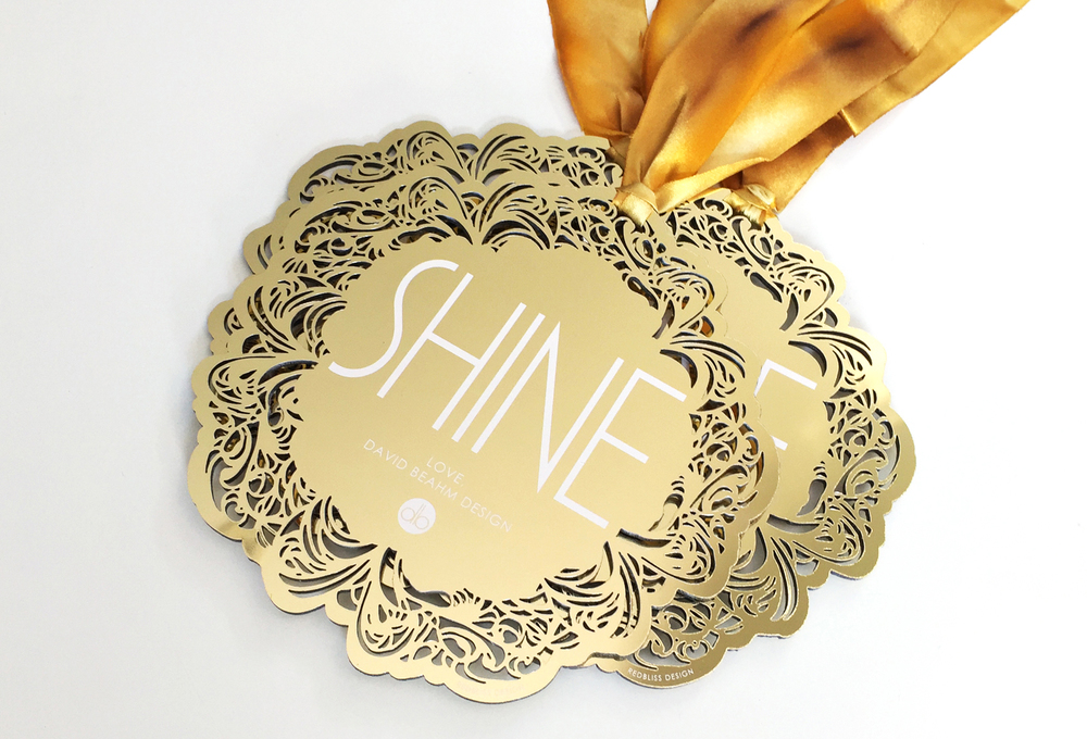 holiday ornament chrome chroma laser cut gold custom invitation