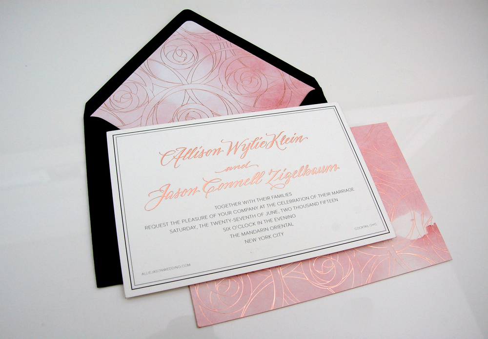 watercolor custom invitation wedding rose gold foil printing