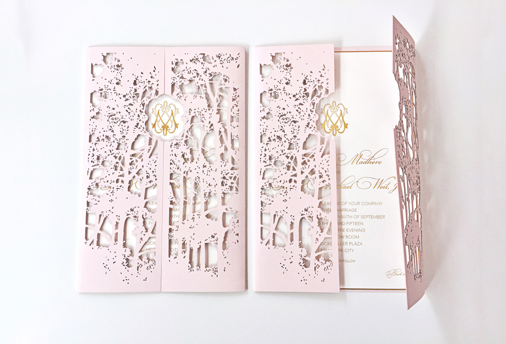 laser cut folder invitation wedding custom monogram gold engraving