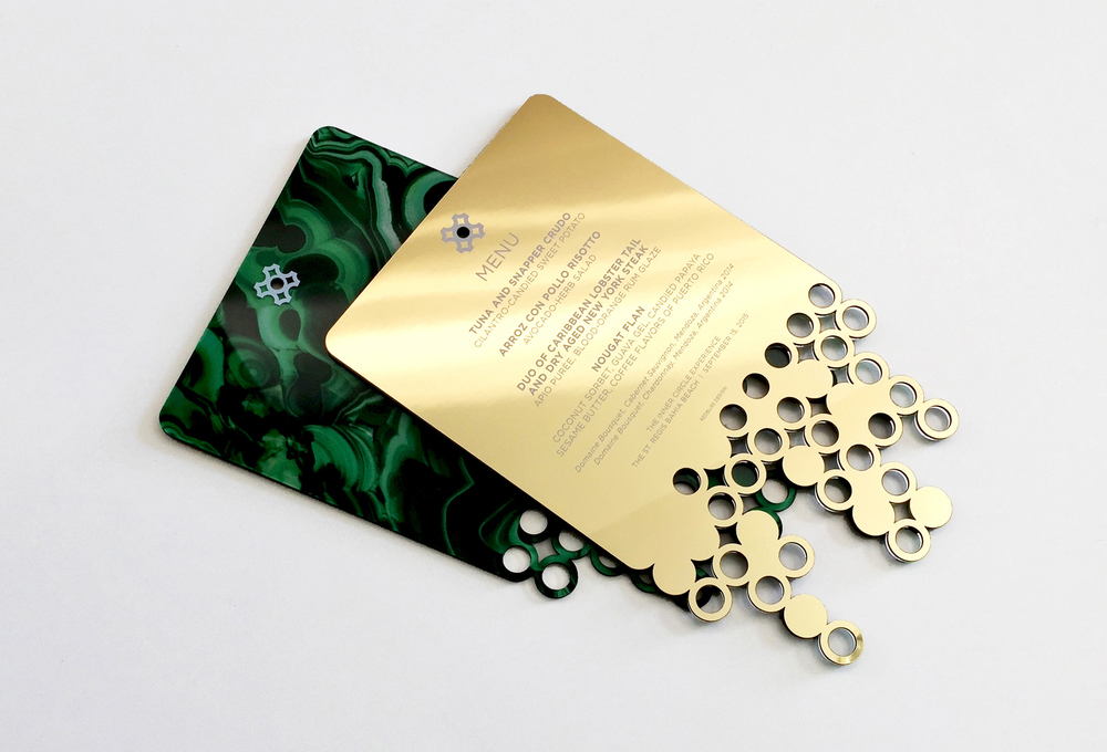 emerald malachite menu with gold chrome metal custom invitation