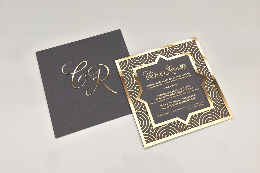 gold foil stamped invitation gold frame laser cut custom monogram event invitation