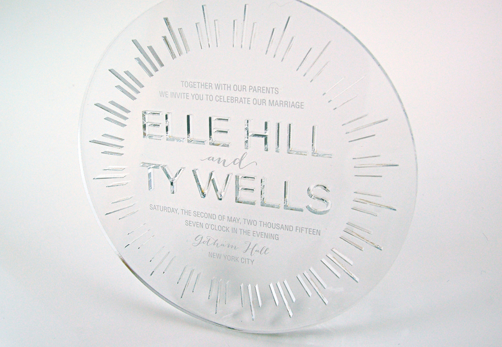 Laser cut acrylic, beveled and polished to create a circle of beauty.