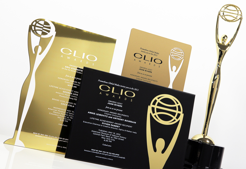 Custom invitations designed for the CLIO Awards. Laser cut chrome, acrylic and matte vinyl were used to showcase the infamous CLIO statuette.
