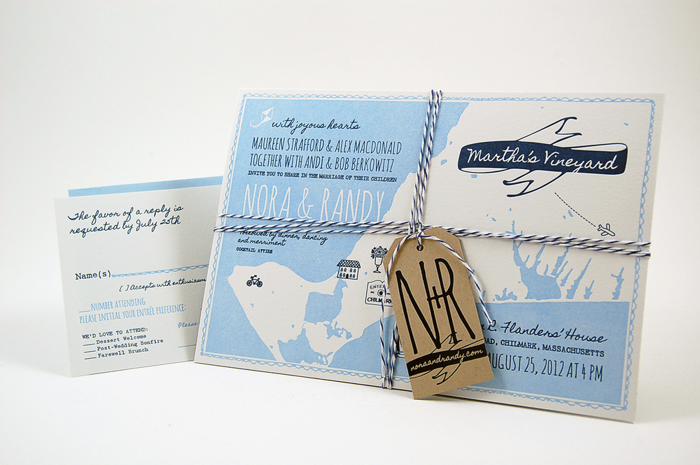 A custom invitation suite for a wedding on Martha's Vineyard. Letterpress printed on luxe cotton paper and wrapped with bakers twine.
