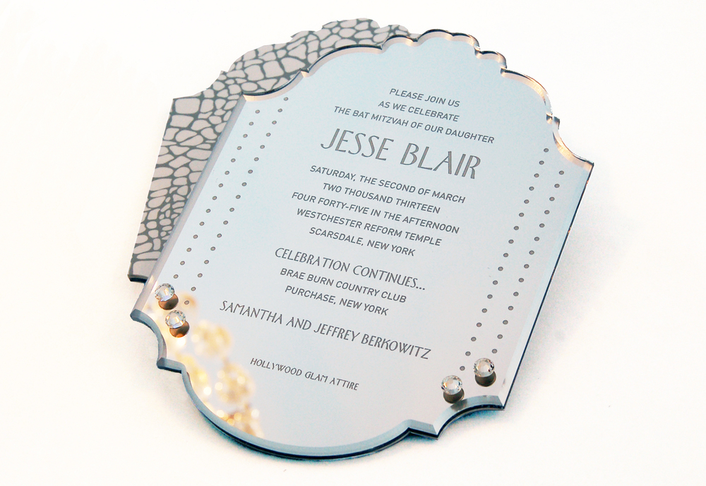 A Hollywood-inspired Bat Mitzvah invitation. Engraved mirror with polished bevel and Swarovski crystals.