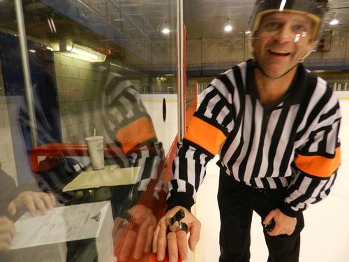 *Thierry the head referee of the LFA who does his best game after game to keep the ambiance on the ice friendly for the benefit of all