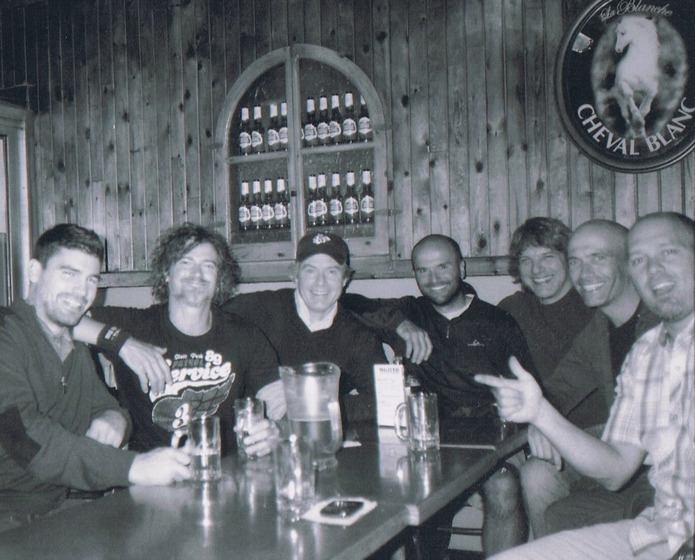 POST GAME WITH THE BOYS BACK IN THE BROTHERHOOD DAYS.FROM LEFT TO RIGHT: PIERRE-LUC,J-F,FERN,DAN,LARRY,MIKE AND ERIC ALL PART OF THE LFA TODAY.