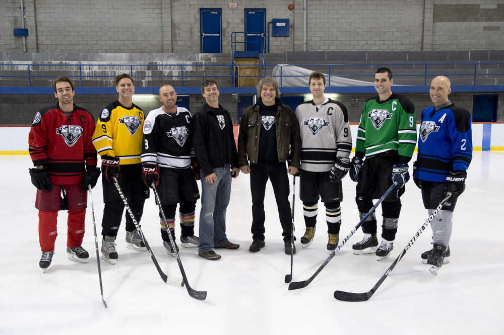 This season's captains in the company of the LFA president and vise-president of hockey opperations From left to right: Simon Lavery-Lebeau, Remy Babin, Pierre-Luc Bédard, Jean-François DesBois, Larry, Phil Cyr, Julien Staeger and Michael Wees (assistant captain and member of the selection committee) Photo Bruno Petrozza