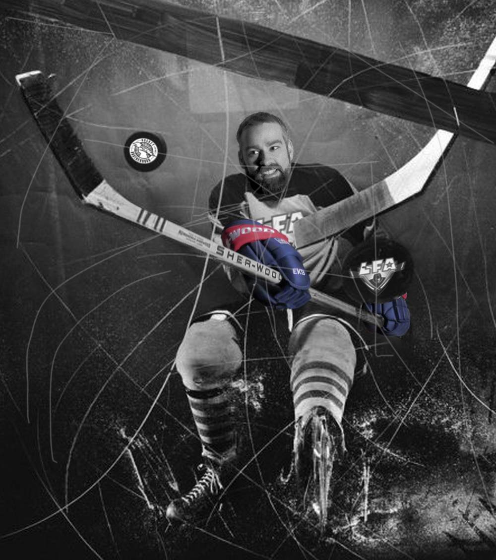 Sebastien Renault from the cabane loggers, winner of the LFA player of the month award powered by sher-wood (photo-montage by totem urbain)