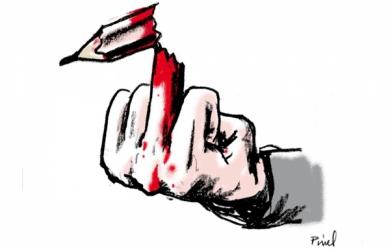 image de l'époque des attentats chez Charlie Hebdo qui exprime bien la censure et le jugement que certains porte sur la liberté d'expression.