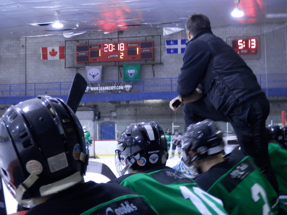 Even if he could not play, Sebastien mainville still came out to chear the boys on, and coached them to victory a couple week's back (photo JFD)