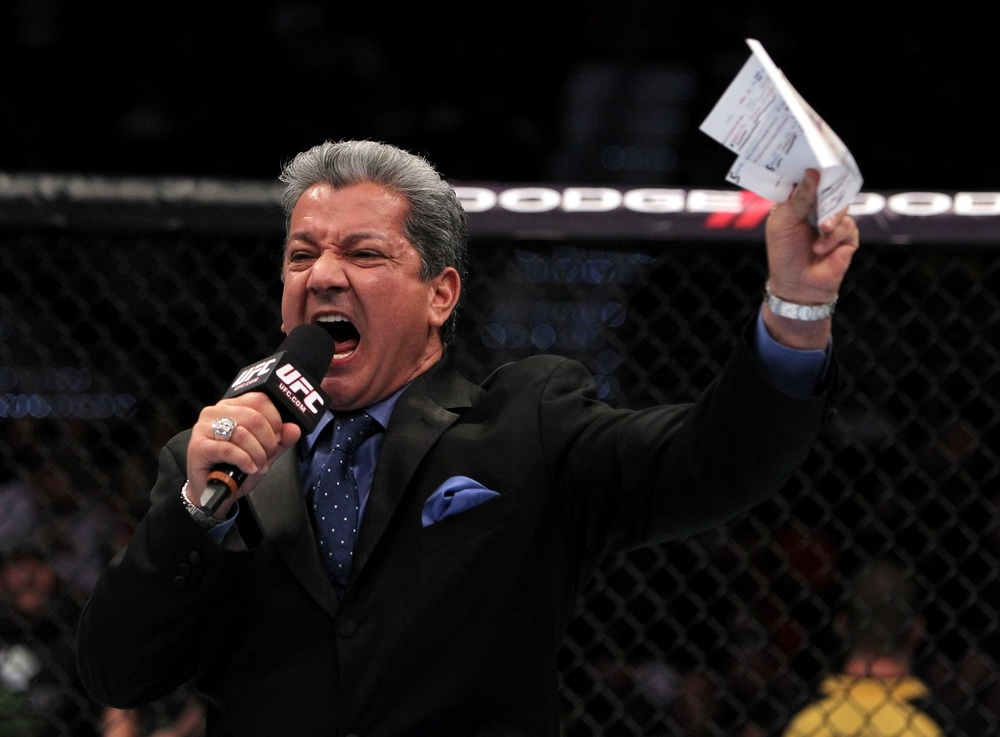 Bruce Buffer making one of his famous sport introduction (Google, unknown author)