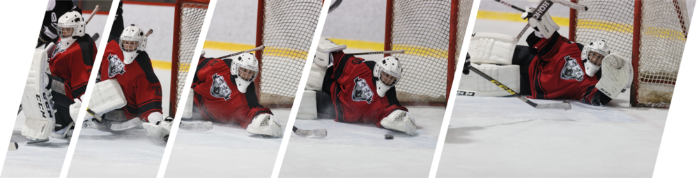 Jean-François Poitras, goaltender for the Tomahawks, gives all he got every game even in defeat. (Photos: Alain Barabasy. Montage: Jacob Poliquin)