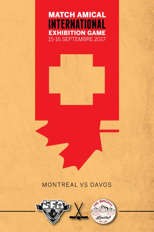 Affiche commémorative des matchs amicaux entre la LFA et le HC Brüch Davos. (Graphisme Jacob Poliquin)
