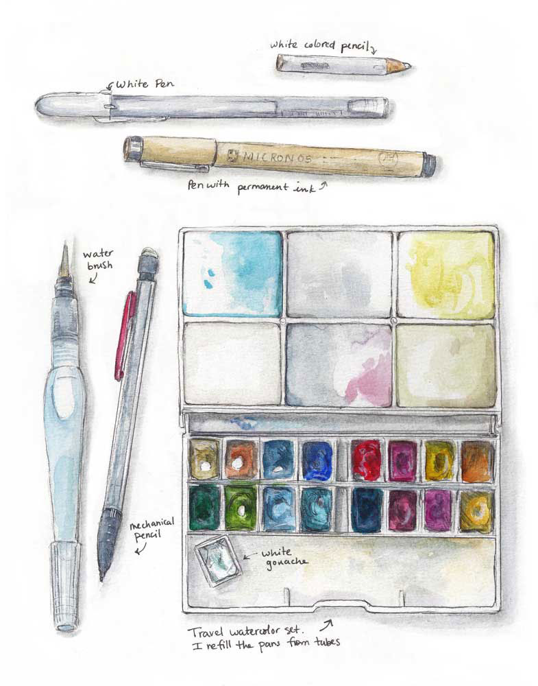 Some field sketching supplies (c) Kristin Link, 2013