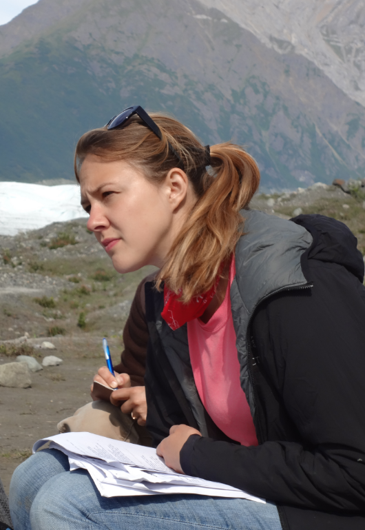 Writing near the Root Glacier
