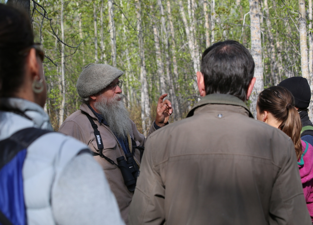Mark Vail teaching the group about spring migrations, bird habits, and habitats. Photo by Leanne Phelps