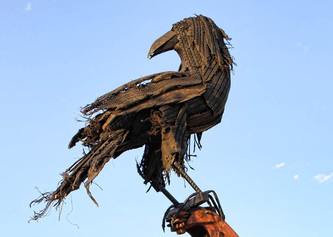 Joe Barrington sculpture of a raven made with shredded tires