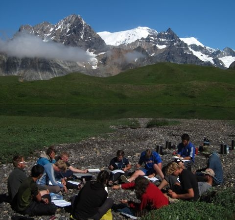 Discussion in an outdoor classroom. Photo credit: Jesse Wright.