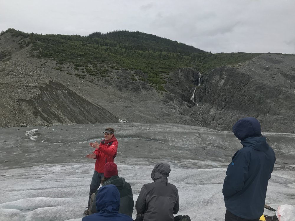 WMC Board President, Tim Bartholomaus, teaching the 2017 Field Studies college students on the Root Glacier - Photo: Will Chang