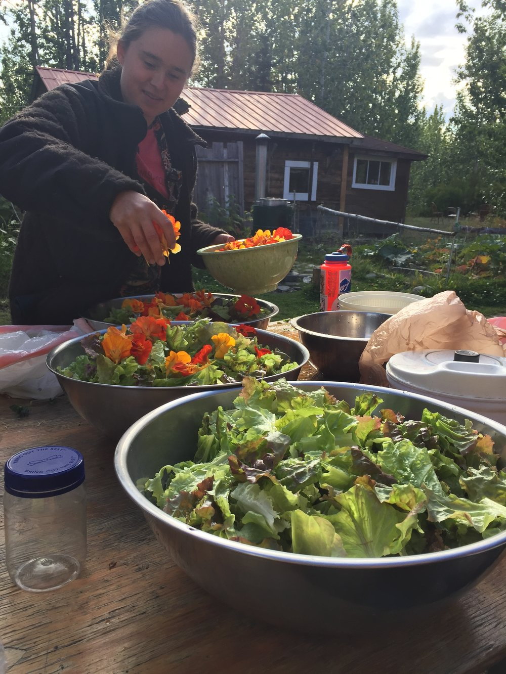 2017 Summer Intern, Maya Heubner, preparing salads for the half marathon - Photo: Julie Keniry
