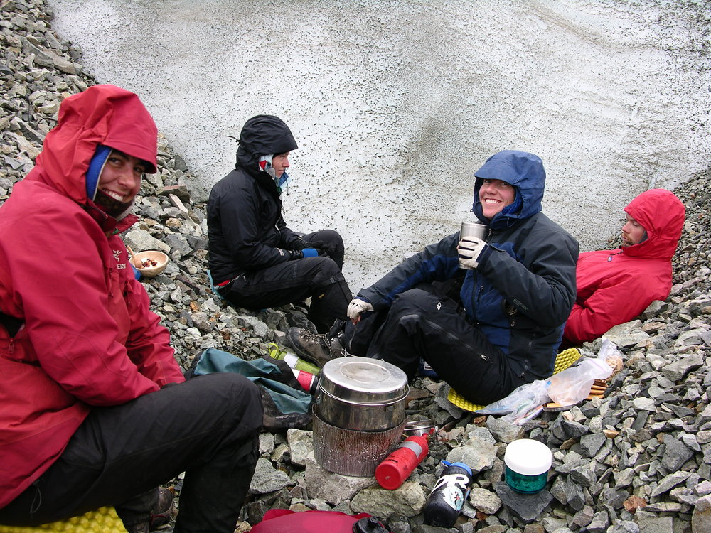 Cooking up a meal together on the edge of the Kennicott Glacier