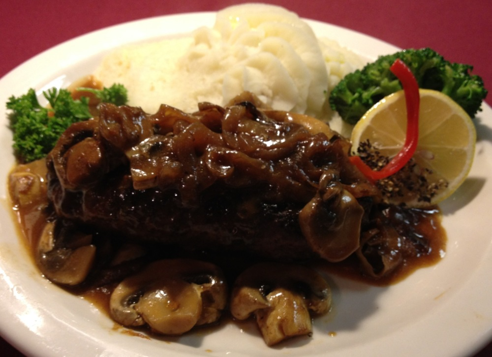 Grilled Chopped Steak with Sizzled Onions  and Mushrooms...Whipped Potatoes