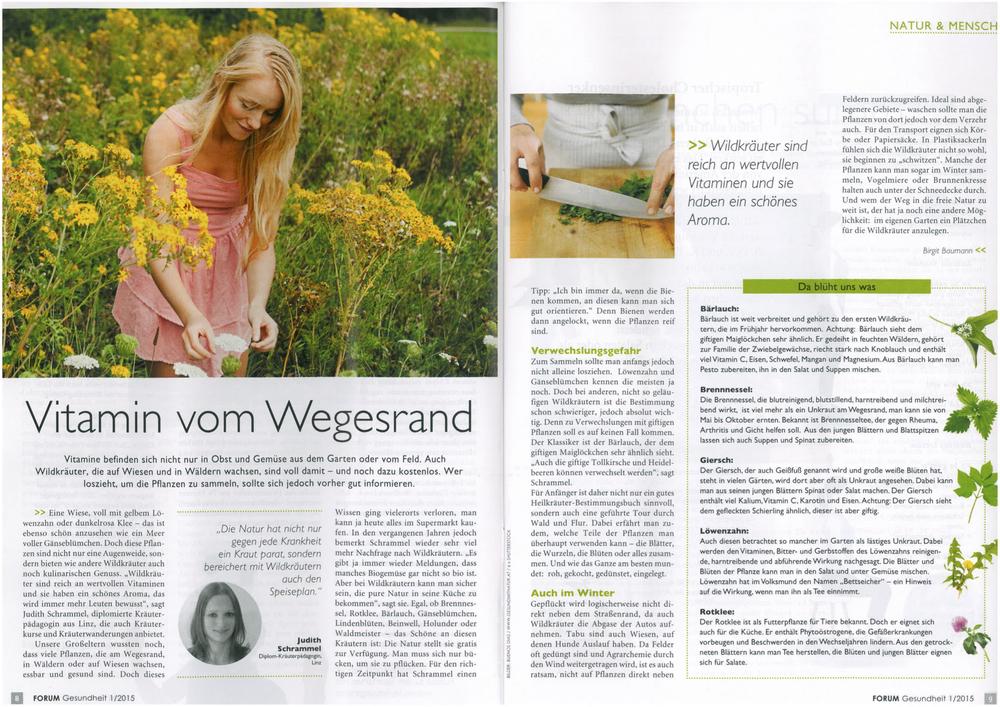 Magazin der OÖ Gebietskrankenkasse Forum Gesundheit, Ausgabe Jänner 2015