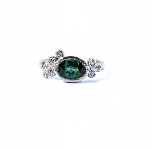 gold rings tourmaline white vs green october diamond il ring engagement natural solid birthstone floral mucq halo