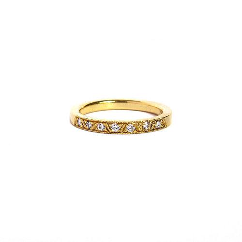 7 Stone Hand Engraved Diamond Wedding Band Quercus Raleigh