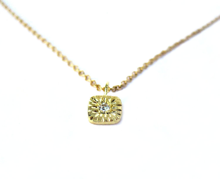 Engraved 18k gold diamond chop necklace quercus raleigh engraved 18k gold diamond chop necklace aloadofball Gallery
