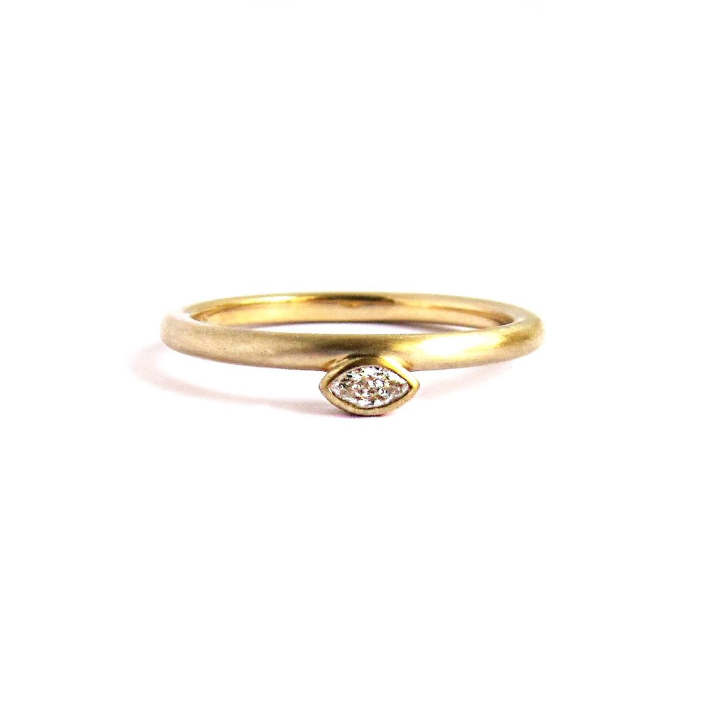 Yellow Rose Gold Diamond Stacking Ring Set Quercus Raleigh