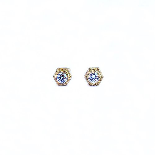 white stud gold diamond earrings front halo square
