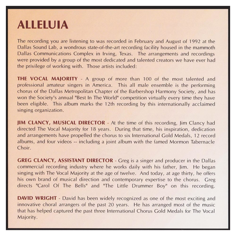 Back Panel: Alleluia