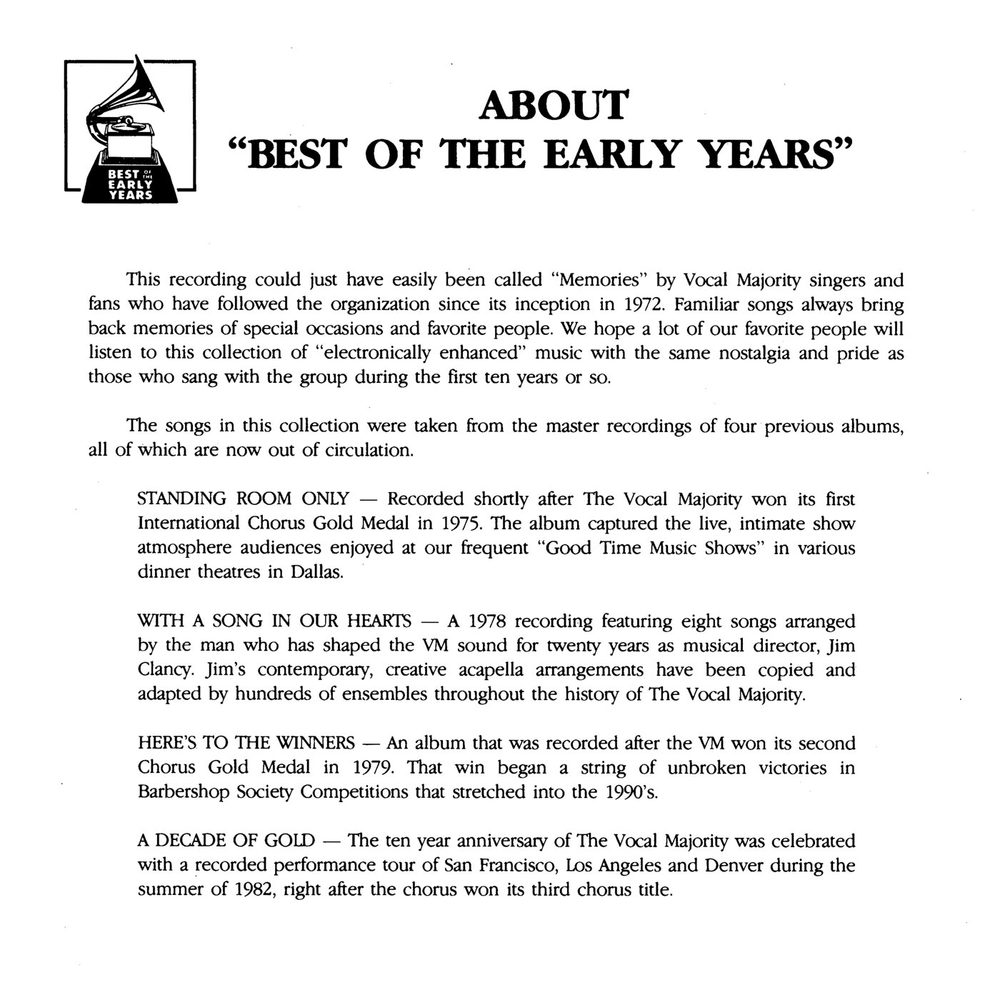 Booklet Inside Middle Panel: Best of the Early Years