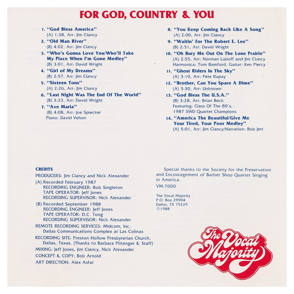 Booklet Outside Back Panel: For God, Country, and You