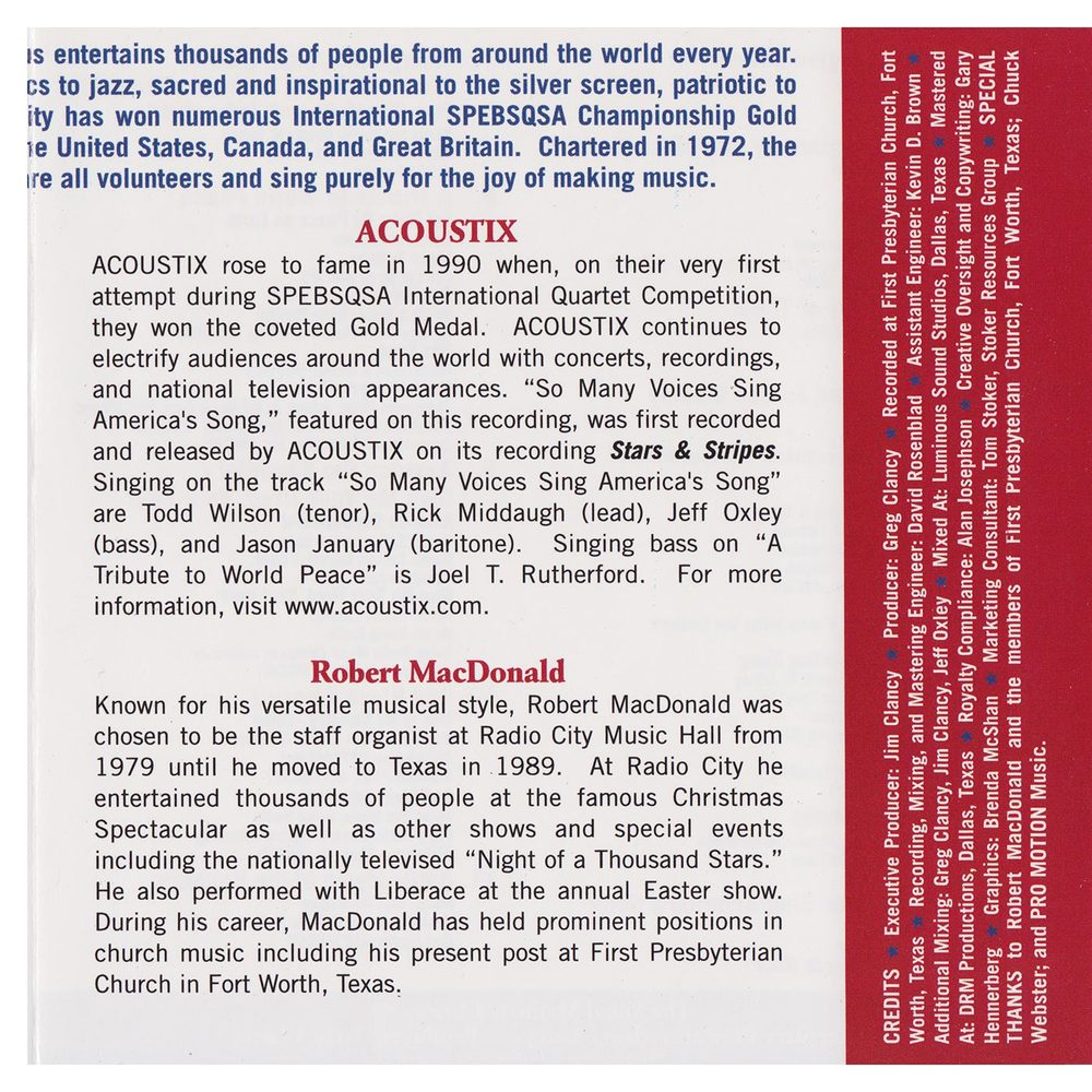 Booklet Inside Middle Panel: Freedom's Song