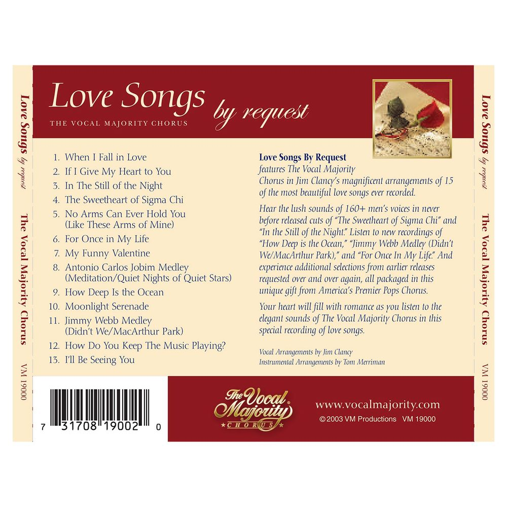 Tray Card Outside: Love Songs By Request