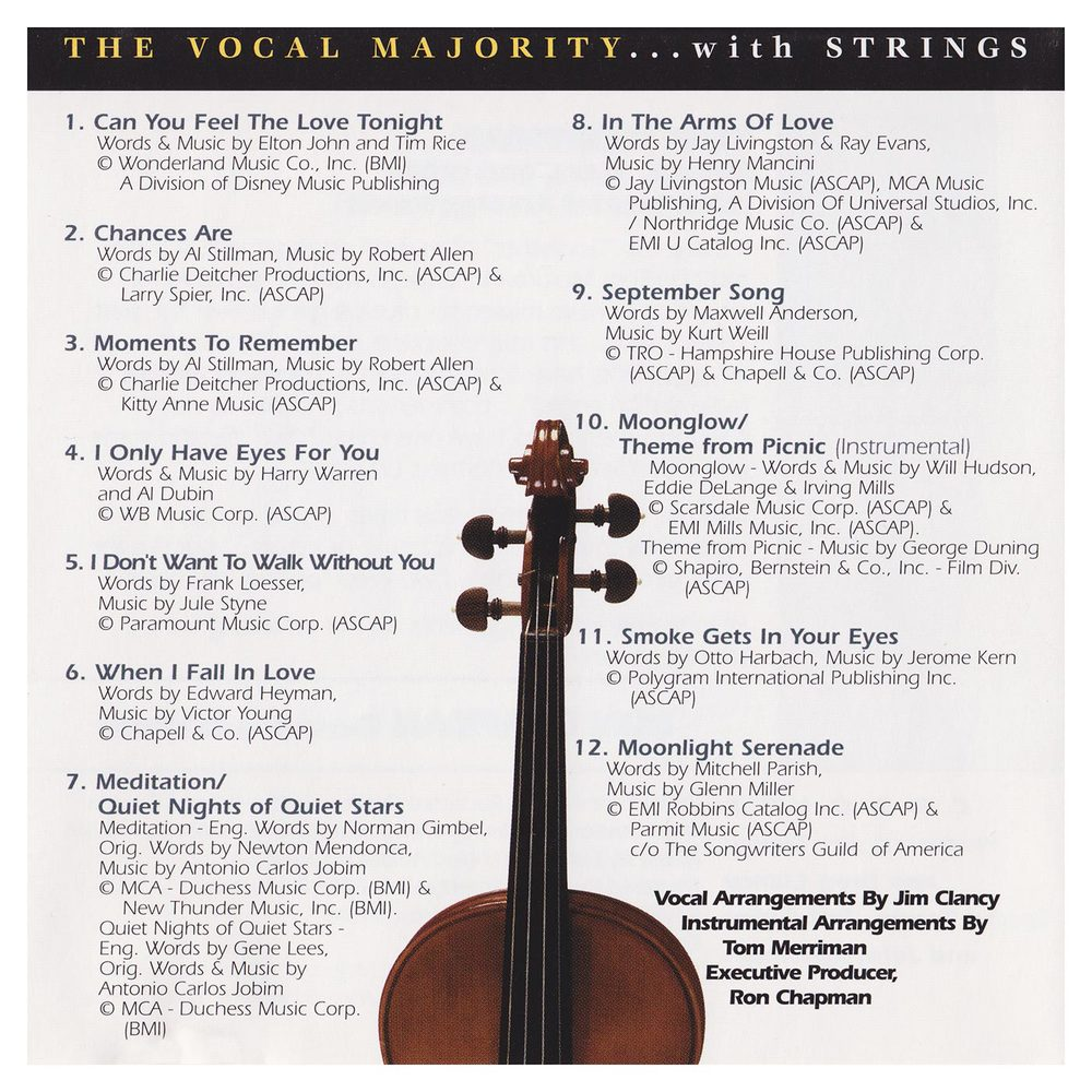 Booklet Outside Back Panel: VM with Strings Vol. 1