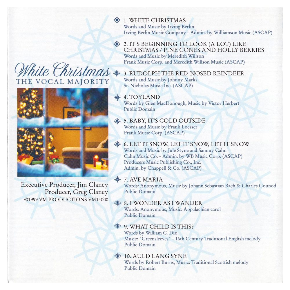 Booklet Outside Back Panel: White Christmas