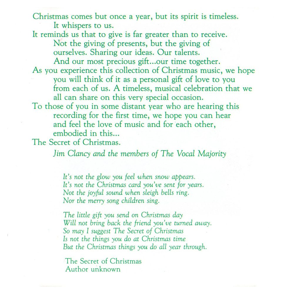 Booklet Inside Left Panel: The Secret of Christmas
