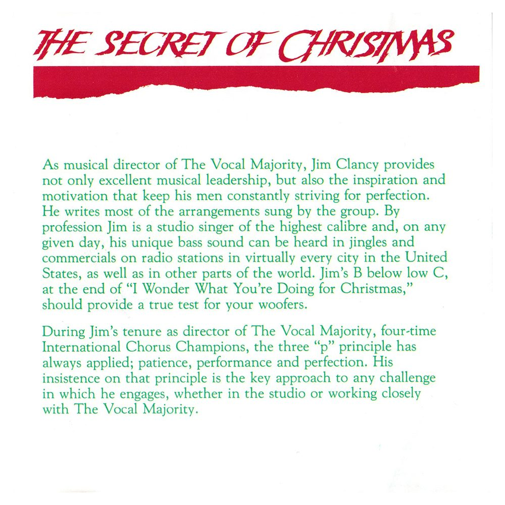 Booklet Inside Right Panel: The Secret of Christmas